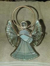 """7.5""""Angel Votive Tea Light Stained Glass Candle Holder Gold Trim Collectible"""