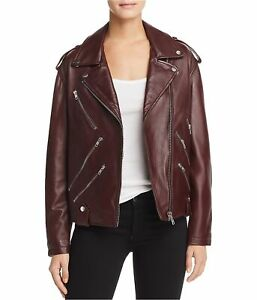 McQ Womens Leather Biker Jacket, Red, 42