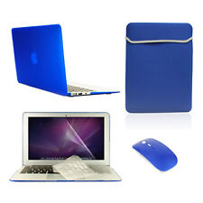 """5 in 1 Rubberized ROYAL BLUE Case for Macbook Air 11""""+ Key Cover+LCD +Bag +Mouse"""