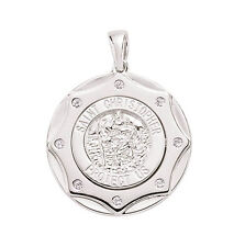 Sterling Silver Platinum Plated 25mm Saint Christopher Set With Cubic Zirconia