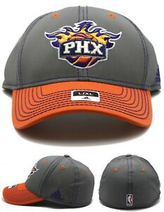 Phoenix Suns Adidas New NBA PHX Gray Orange Piped Flex Fit Era Fitted Hat Cap