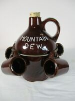 VTG Redware MOUNTAIN DEW Jug with 4 Small Cups BARWARE Collectible Hillbilly