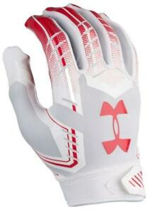 UNDER ARMOUR F6 Adult Football Gloves - WHITE / RED - SMALL