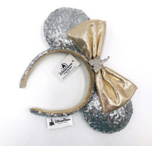 Disney Parks Sequins Minnie Ears Castle Jewel Silver Kids New Hat Bow Headband