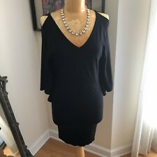 COSTA BLANCA Black Cold Shoulder Batwing Fitted Bodycon Sweater Dress S/P