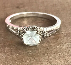 Victorian Sterling Silver Natural .25ct Aquamarine Ring Size-6