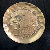 "Wendell August Solid Bronze Mini Plate / Coaster EAGLE PROFILE, 4½"" Diameter"