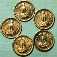 1960 INDIA NAYA PAISA ( 1 PAICE ) 5 COPPER COINS LOT - UNC COPPER COINS