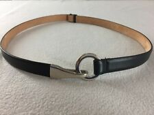 """Vintage Talbots Belt 6528 Black Leather Silver Hook Buckle XS/S 33"""" Fully Expand"""