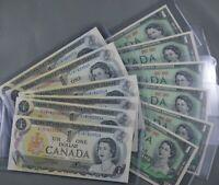 12 Uncirculated $1 Canadian Banknotes  6 x 1973 ( Consec )  &  6 x 1967 All  Unc