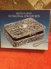 GODINGER Silver Plated Octagonal Design Jewelry Box Inside Lined NEW OLD STOCK