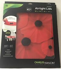 Charles Viancin 4 Pc Food Storage Reusable Silicone Suction Lid Gift Set Poppy