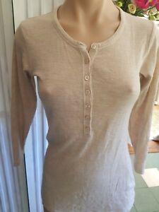 Witchery beige 100%wool top shirt designer business size medium
