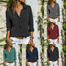 Women Blouse Tops Plain Long Sleeve Loose Casual T-shirt Lady Solid Color Shirt