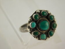 BLUE GREEN TURQUOISE STERLING SILVER RING SMALL NAVAJO SNAKE EYE SIZE 4.25
