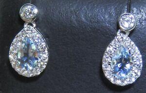 18CT 0.8CT AQUAMARINE 0.5CT DIAMOND DROP STUD EARRINGS  18 CARAT WHITE GOLD