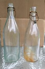 Two Vintage Wire Bail Green Blue Clear Glass Bottles Gem Stopper Co 393 Lot 2