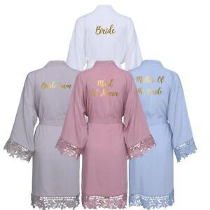 Cotton Robe with Lace robe Women Wedding Bridal Bride Bridesmaid Robes Sleepwear