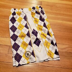 Flow Society Lacrosse Shorts Youth Large Yellow, Purple and White Argyle
