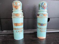Antique Original Wood & Glass Egyptian Perfume Bottles (Lot of 2) Rare !