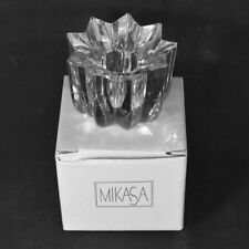 "BNIB Mikasa ""COMET"" Lead Crystal Taper Votive Candle Holder Star Shape Christmas"