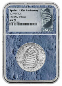 2019-D Apollo 11 50th Clad Half Dollar NGC MS70 First Day Of Issue Blue Core