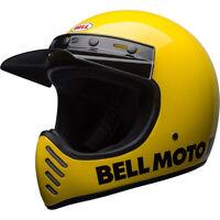 Bell Moto-3 Retro Urban Full Face Motorcycle Helmet Gloss Yellow Classic XSmall