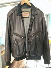 Men's Vintage Chevignon brown Leather Flight Aviator Bomber Jacket size L 44R