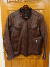 // Auth. Froccella Men's Brown Leather Cow Stylish Jacket Size EUR 60