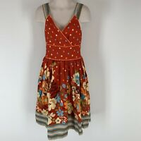 Girls Rare Edition Red Floral Dress Cotton Size 8 ?
