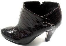 Spiegel Women's Dark Brown Man Made Alligator Shiny Ankle Boots 6M
