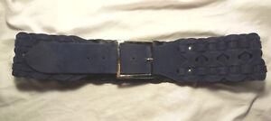 7.5cm wide mid-dark blue faux suede plaited woven belt fit 90cm-100cm.