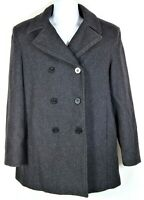 Andrea Wool Women's Peacoat Coat Size M Medium Dark Gray Double Breasted