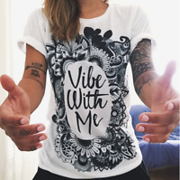Women loose short sleeve T-shirt casual collar shirt letter printing Tops Blouse
