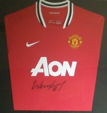 Wayne Rooney Signed Manchester United Football Shirt AON Sponsor Unframed AFTAL