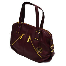 Michael Kors Womens Handbag Purse Portland Leather Claret Gold Mk Tone Logo New