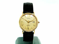 14K yellow gold Geneve wrist watch with leather band