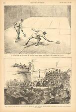 Racketball, Billiards, Heiser Schaefer Championship, Vintage 1890 Antique Print