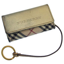 Burberry Key holder Key case Nova Check Gold Beige Woman Authentic Used G199