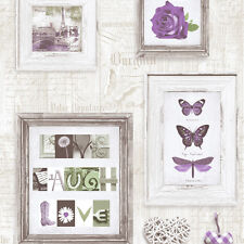 PURPLE WHITE LIVE LAUGH LOVE PICTURE FRAME WALL MURIVA FEATURE WALLPAPER 131504