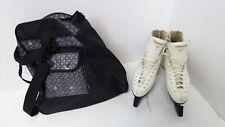 Risport Laser Ice Skates Kids Size UK 3.5 EU 37 White Leather + Bag & Guards D46