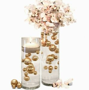 Gold Pearls - No Hole Jumbo/Assorted Sizes for Vase Decorations & Table Scatter
