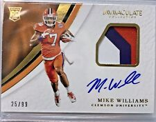 2017 Immaculate Collegiate MIKE WILLIAMS RC Logo Patch On-Card Auto #/99 Clemson