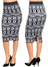 Women's Lady Fashion Casual Office High Waist GEOMETRIC PRINT PENCIL SKIRT S/M