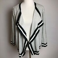 Hampshire Studio Women's Long Sleeve Open Front Sweater Cardigan XL Black White