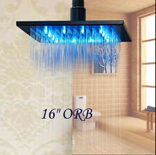"LED 16"" Oil Rubbed Bronze Square Rain Shower Head Wall Ceiling Mounted Sprayer"
