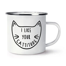 Me gusta tu CATTITUDE Retro Esmalte Taza Taza-Divertido Crazy Cat Gato Gatito Dama