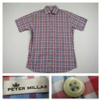 Peter Millar Mens Red Plaid Button Front Short Sleeve Casual Shirt Medium