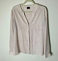 Worthington Women's Blouse Size Large Top Stripes Pink White Casual Work Career