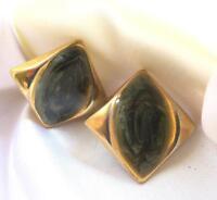 """Vintage Gold Tone Green Enamel Pierced Earrings 1"""""""